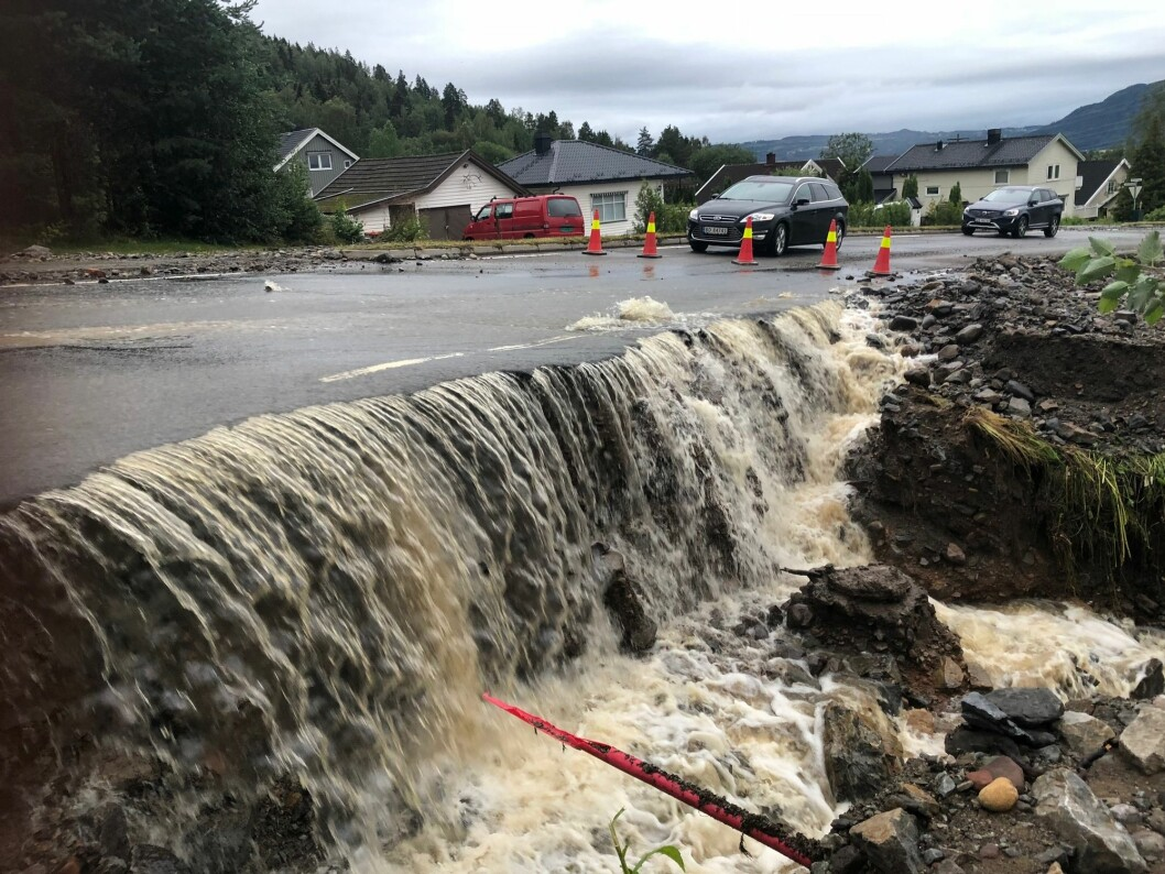 High amounts of rainfall led to flooding in Brumunddal in the autumn of 2019. Climate researchers say Norway will experience more of these kinds of extreme weather events in the future.