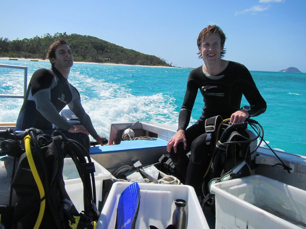 Fredrik Jutfelt, right and Timothy Clark out in the field on Australia's Great Barrier Reef. Their three-year research project showed that ocean acidification had a negligible effect on coral reef fish behaviour.