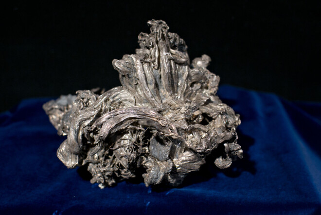 This nugget of native silver was found in the Mildigkeit Gottes mine in 1941 and is on display at the Norwegian Mining Museum in Kongsberg.