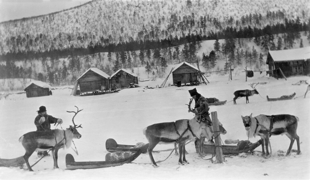 Transportation of goods, and distinguished persons, occurred with reindeer and sleds in winter.