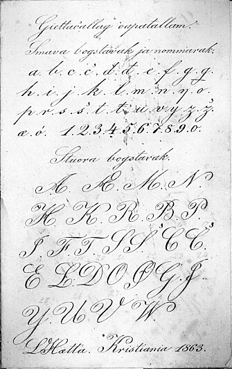 Lars Hætta and Anders Bær learned how to write in prison as adults. Here, Hætta has carefully noted the letters, four years before his release in 1867.