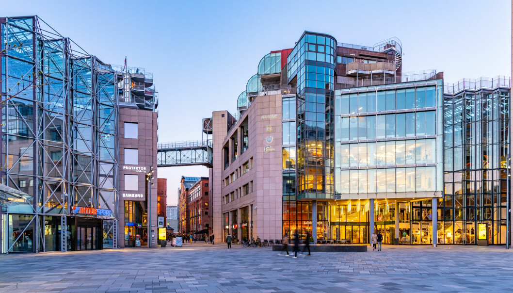 Bryggetorget square in the Norwegian capital Oslo is one of the places used as an example of a contemporary urban space in the study. The buildings are asymmetrical, lack ornamentation, and are made from materials such as glass, steel and concrete.