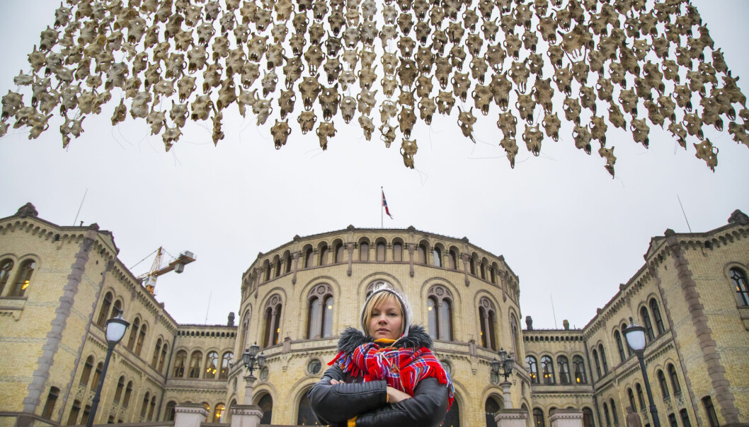 The sami artist Máret Ánne Sara displayed her work of art Pile o´Sápmi, an installation of 400 reindeer heads, in front of the Norwegian parliament in 2017 - at the same time her brother, the young reindeer herder Jovsset Ante Sara was trying his case in court to keep his reindeer herd intact.