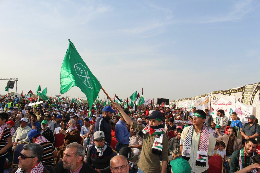 The Muslim Brotherhood and their supporters demonstrating for democracy during the Arab Spring of 2011.