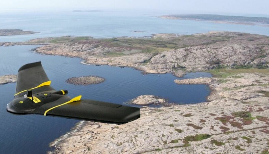 An EbeeX drone shown flying over Ytre Hvaler National Park, Southern Oslofjord, Norway.