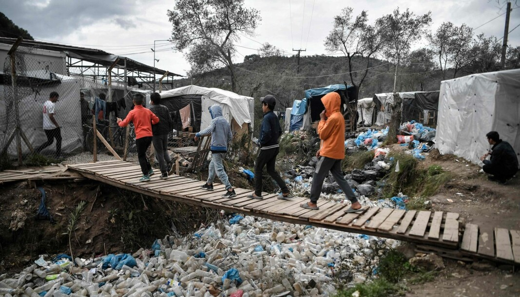 Norwegian researchers are greatly concerned about what will happen to people in refugee camps when the corona virus announces its arrival. This photo is taken in the Greek refugee camp Moria in Lesbos.