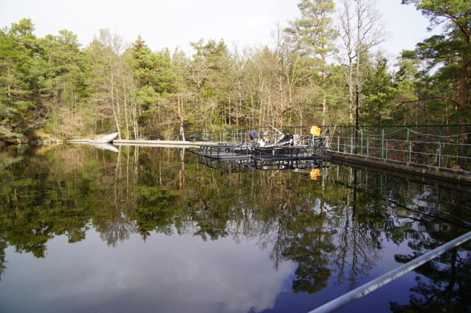 Here is one of the pools that are used in scientific research at the IMR in Arendal.