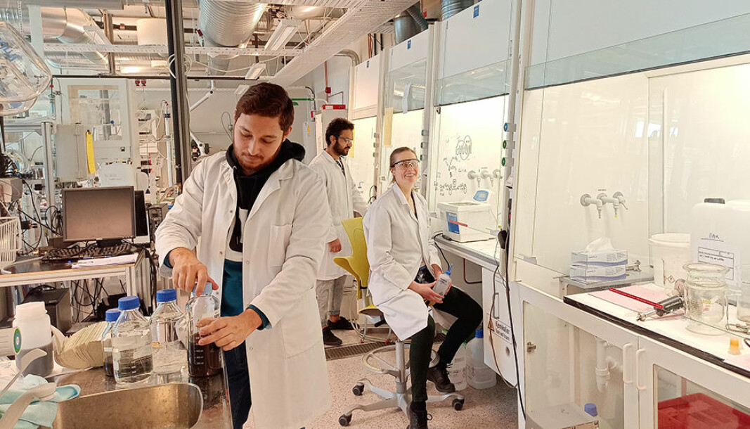 Gearing up to produce as many nanoparticles as possible for the COVID-19 test. The production operators for the team are Zeeshan Ali, Regina Lopez Fyllingsnes, Ahmad Bin Ashar and José Paulino Peris Sastre (missing).
