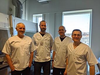 Part of the development team. From left, Magnar Bjørås, Sten Even Erlandsen, senior engineer from the Genomic Core Facility (GFC), Lars Hagen, general manager of the Proteomics and Modomics Experimental Core Facility (PROMEC), and Per Arne Aas, senior engineer from the Department of Clinical and Molecular Medicine.