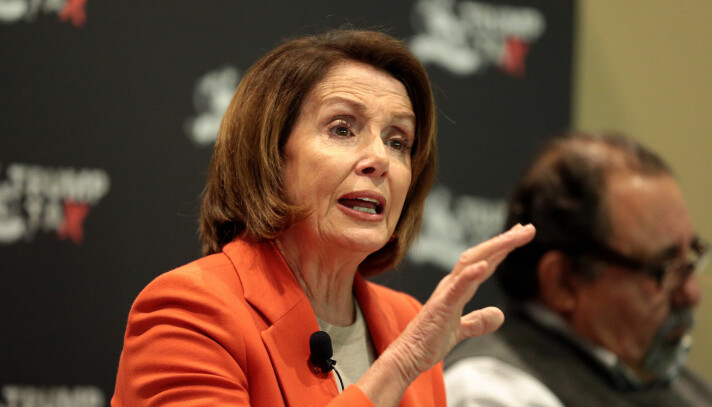Jennifer Bailey thinks House Majority Leader Nancy Pelosi managed to get some climate friendly measures into the recent US government coronavirus bailout package. The photo shows Pelosi, then minority leader, speaking with attendees at a Trump Tax Town Hall hosted by Tax March at Events on Jackson in Phoenix, Arizona in 2018.