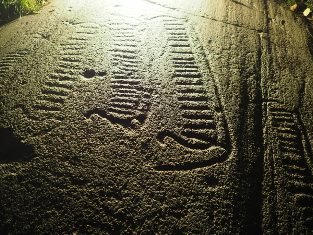 Light and shadow. This is how the ships at a rock art site show up at night.
