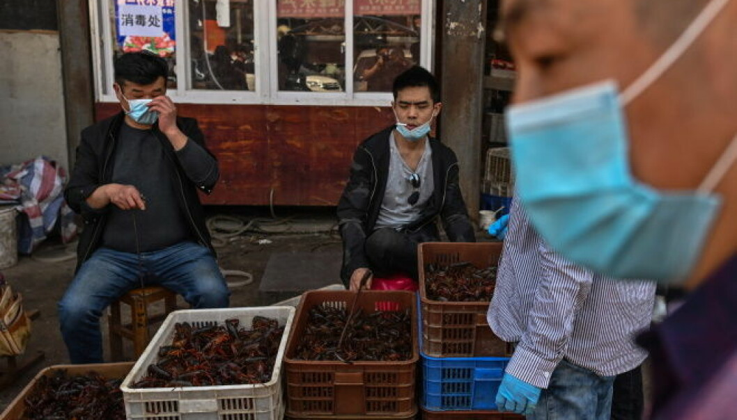 The wet market in Wuhan - from where the Coronavirus pandemic originated - is back in operation. This photo was taken on 15 April, showing prawn vendors wearing masks to protect themselves.