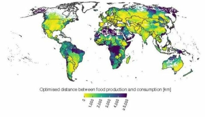 The map shows the distance between consumers and food production in different countries.