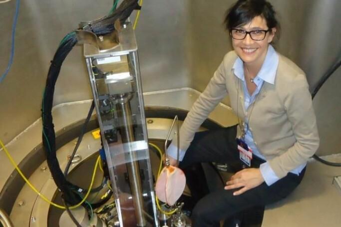 Sabrina Sartori during experiments to study hydrogen storage materials at the Spallation Neutron Souce, Oak Ridge Laboratory.