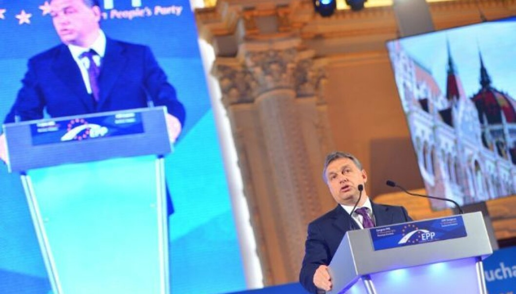 Hungarian PM Viktor Orbán at the 2012 EPP convention in Bucharest