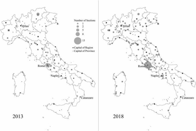 Local sections of CasaPound Italia: geographical distribution in 2013-2018.