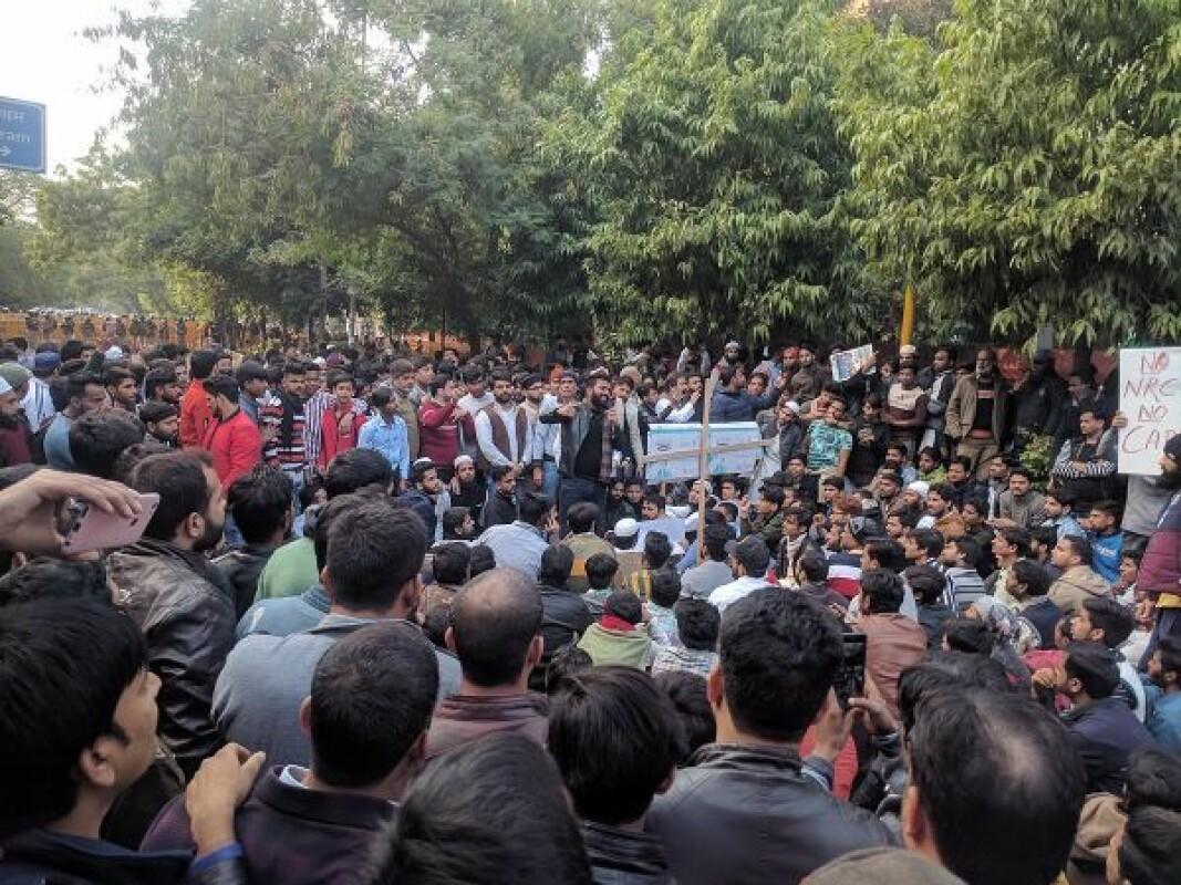 Jamia Millia Islamia students and locals protesting against CAA NRC