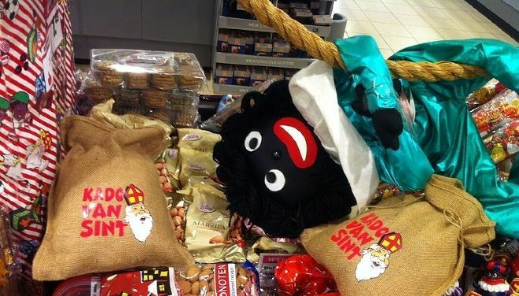 Zwarte Piet puppet in Dutch supermarket