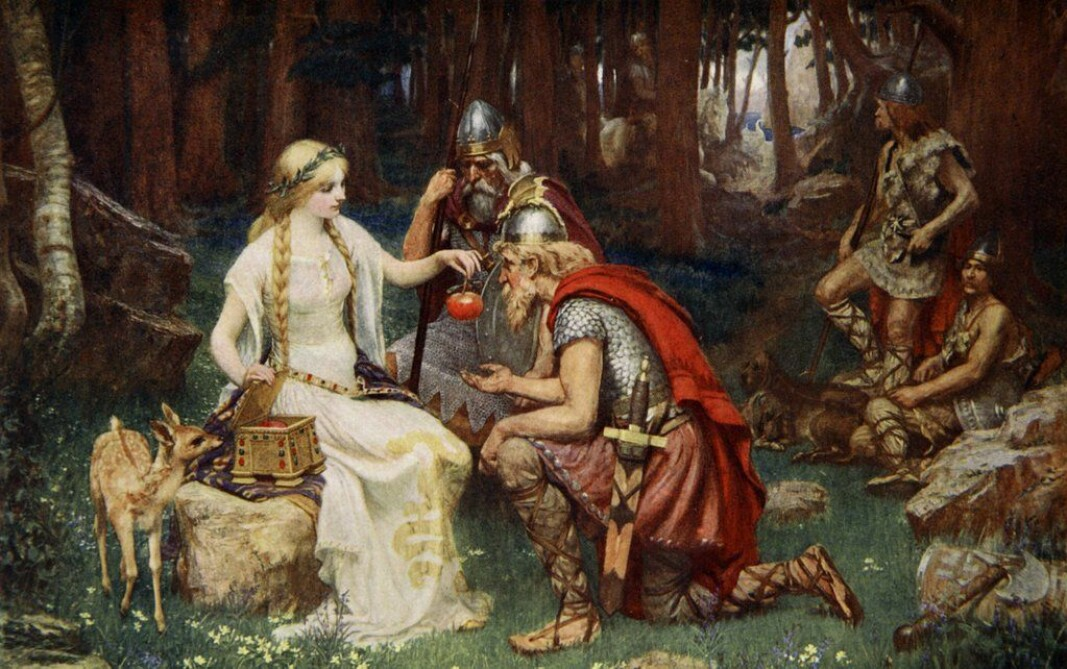 Wild apples were one of the foods that the Vikings had access to. The painting depicts the goddess Idun guarding the shrine with apples that give eternal life. The picture does not give an accurate representation of the Viking age.