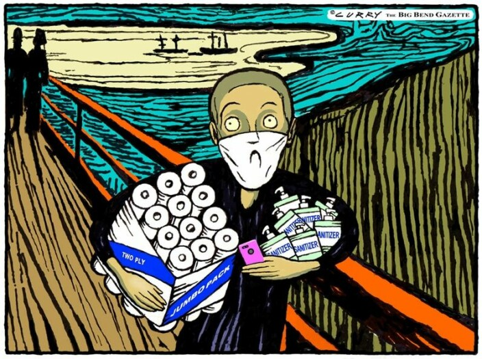 Munch's iconc image of The Scream is one of the most copied, caricatured and commercialised images in the modern world. Illustrator Tom Curry's coronavirus-scream comes complete with face mask, toilet paper and hand sanitiser.