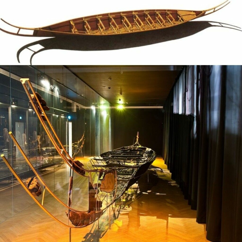 The top image shows a copy of the Hjortspring boat and the bottom shows the real version, which you can see at the Danish National Museum in the centre of Copenhagen. The bow and stern on the vessel are recognizable from petroglyphs in Norway and Sweden. The Danish National Museum contains some of the finest artefacts from the Bronze Age throughout Europe found in Denmark. These finds tell us that the Bronze Age was something very special in the Nordic countries.
