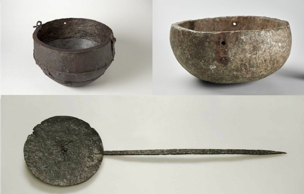 Iron cauldron, soapstone pot and frying pan.