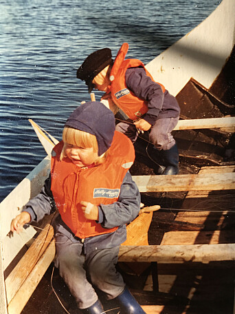 Dyveke and Christian Skauge in a boat at Myken.
