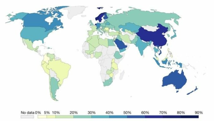 "The percentage of the population that answers in the affirmative to the statement ""Most people are to be trusted."" In 2014, there were only nine countries where more than half of inhabitants answered in the affirmative. The highest percentage was in Norway."