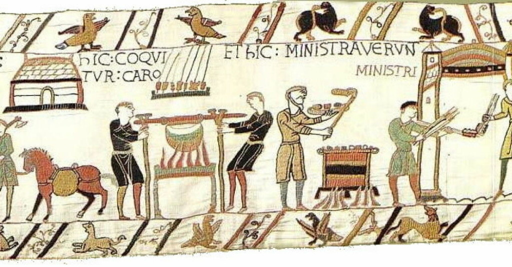 The 70-metre-long Bayeux Tapestry shows the Norman duke William the Conqueror's invasion of England in 1066. The Normans were from France and were of Nordic origin.