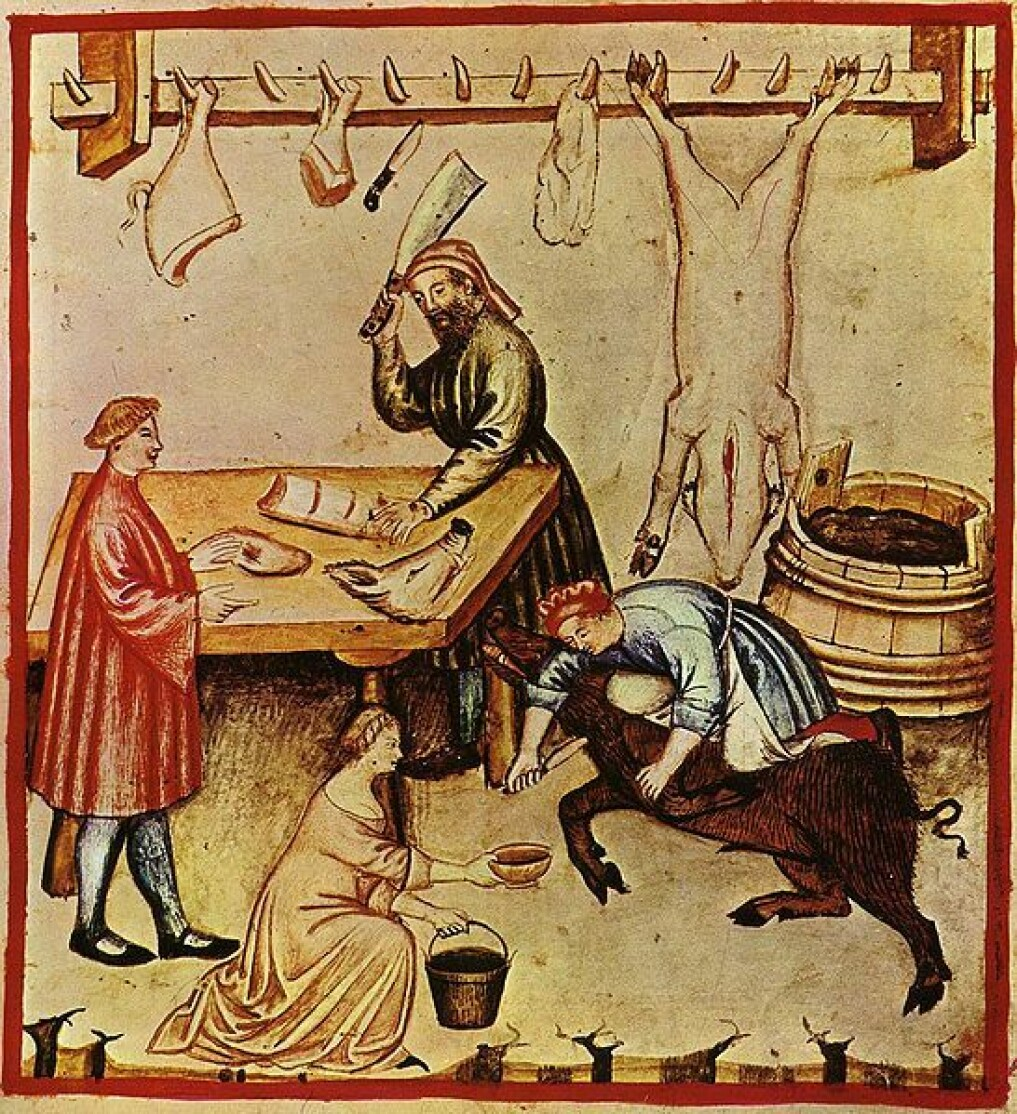 The butchering process in an illustrated medieval book about health.