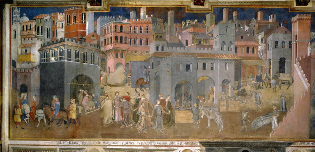 A fresco of 14th Century city life in Italy.
