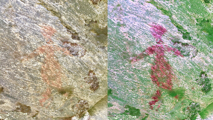 A human figure in natural colour (left) and bolstered by a filter (right)