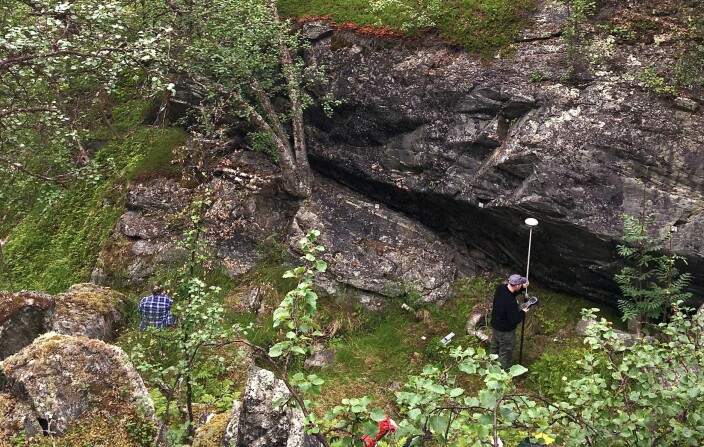 This is the area where the finds were made, beneath the cliff overhang.