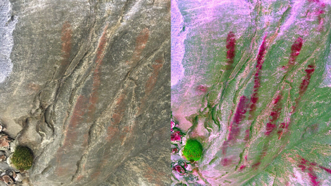 The handprint in natural colours (on the left) and at right an enhanced version using a digital colour filter.