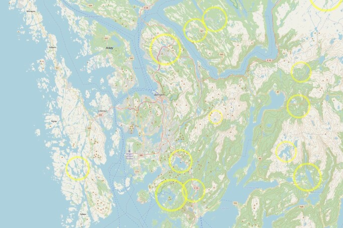 The yellow circles are possible meteorite craters around Bergen.