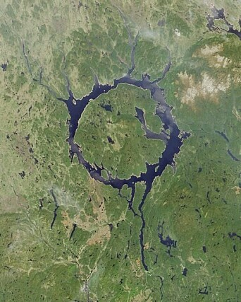 The ring-shaped Lake Manicouagan in Canada's Quebec Province owes its origin to a meteorite impact 214 million years ago.