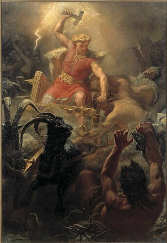 "Mjølnir (Mjölnir in English) is the hammer of the Norse thunder god Tor. Mjølnir means ""the one who crushes dust"". Thor used the hammer as a weapon in the fight against the Jotnes, as shown here in a painting by Mårten Eskil Winge from 1872."