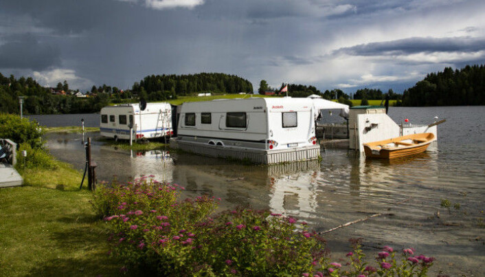 There have been floods in eastern Norway this summer as well. The photo shows Lake Mjøsa flooding Steinvik Camping by Moelv in June.