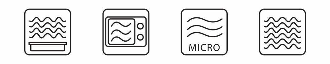 Symbols like these tell you that the pack is intended for us in a microwave oven.