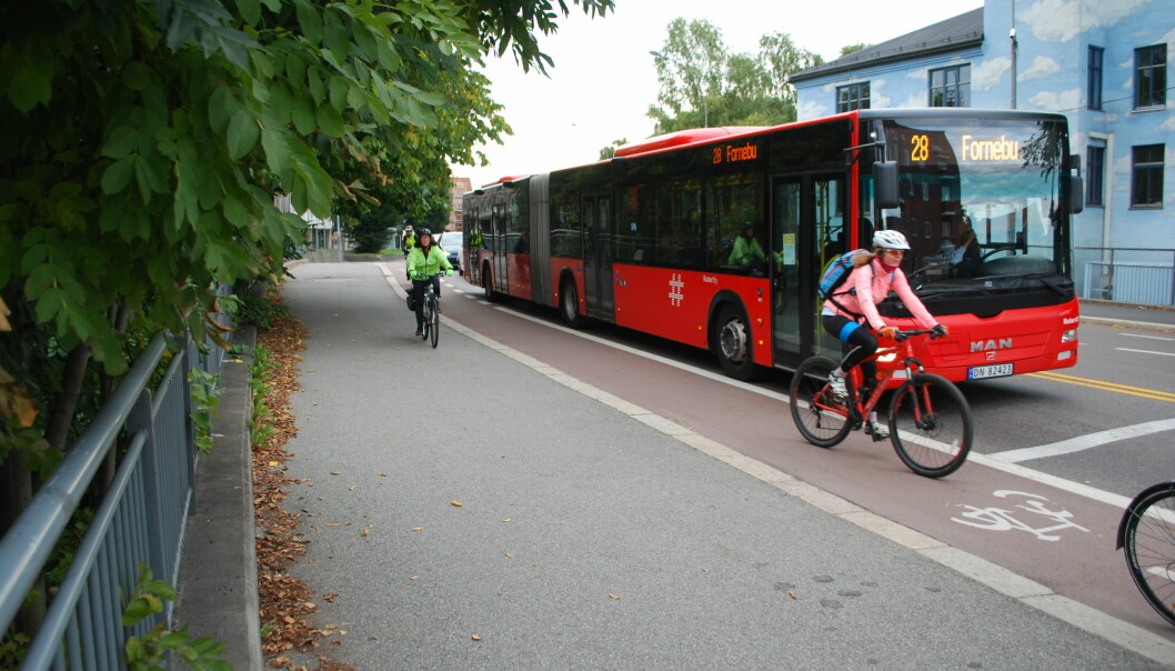 Cyclists find it frightening when buses and cars pass them too closely, according to the study.