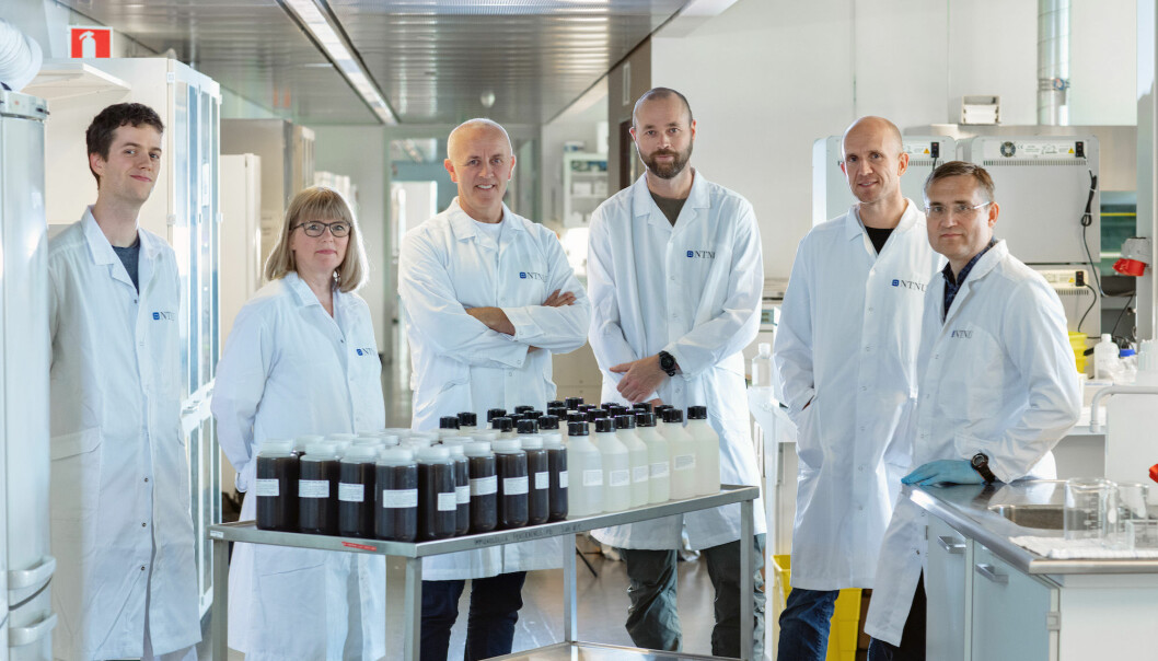 The table in front of the COVID-19 team at the Department of Clinical and Molecular Medicine contains 1.5 million tests. From left, Erlend Ravlo, staff engineer; Hilde Lysvand, senior engineer; Magnar Bjørås, professor and team leader; Sten Even Erlandsen, senior engineer; Lars Hagen, general manager, Proteomics and Modomics Experimental Core Facility (PROMEC); and Per Arne Aas, senior engineer.