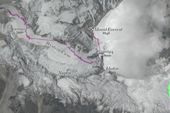 The Nepal route for climbing Mount Everest in the Himalayas.