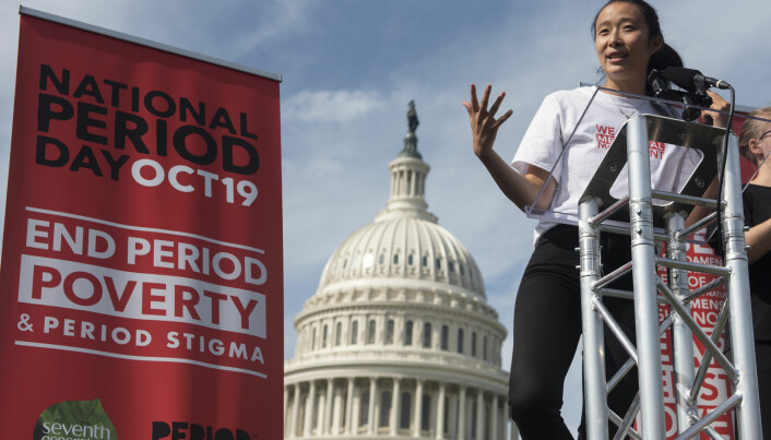 Nadya Okamoto founder of PERIOD, an American non-profit organization working for menstrual equity, speaks at the Capitol during a National Period Day rally in Washington. Activism to end period poverty and for period equity has made headlines all over the world in recent years.