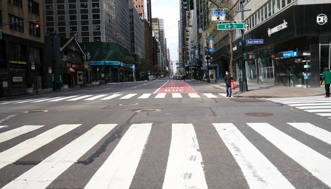 Empty streets in Manhattan. COVID-19 lockdowns all over the world led to lower levels of air pollution.