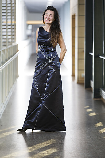 May-Britt Moser, here seen wearing the grid cell-patterned dress she wore for the Nobel Prize ceremony.