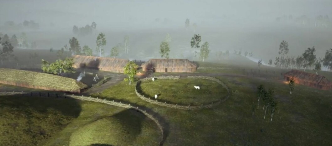 The Viking Age settlement near the Gjellestad mound, where archaeologists are currently carrying out an excavation of a Viking ship for the first time in 100 years in Norway. This image is a screenshot from the website gjellesadstory.no, which has tried to visualise what this place might have looked like some 1000 and something years ago.