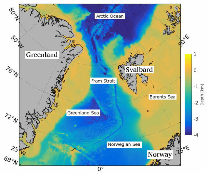The strait between Greenland and Svalbard is the only deep connection between the Arctic Ocean and the world's oceans.