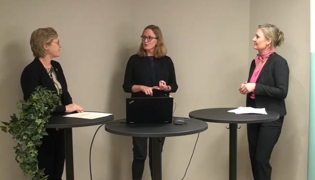 Emotions, mental ailments, brain diseases: Everything happens in the brain. That was the main message when Hanne Harboe (left) spoke with neuropsychologist Marianne Løvstad (centre) and neurologist Jeanette Koht (right).