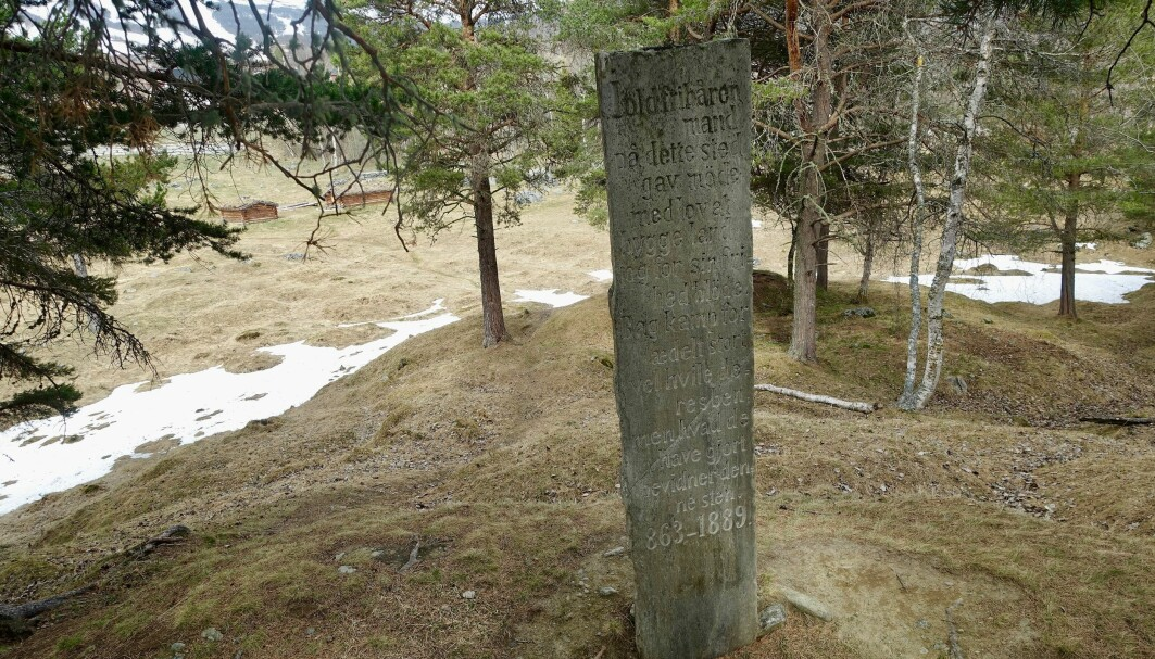 Memorial stone from 1889 at The Vang Burial Site in Oppdal, Trøndelag, Norway's largest burial field.