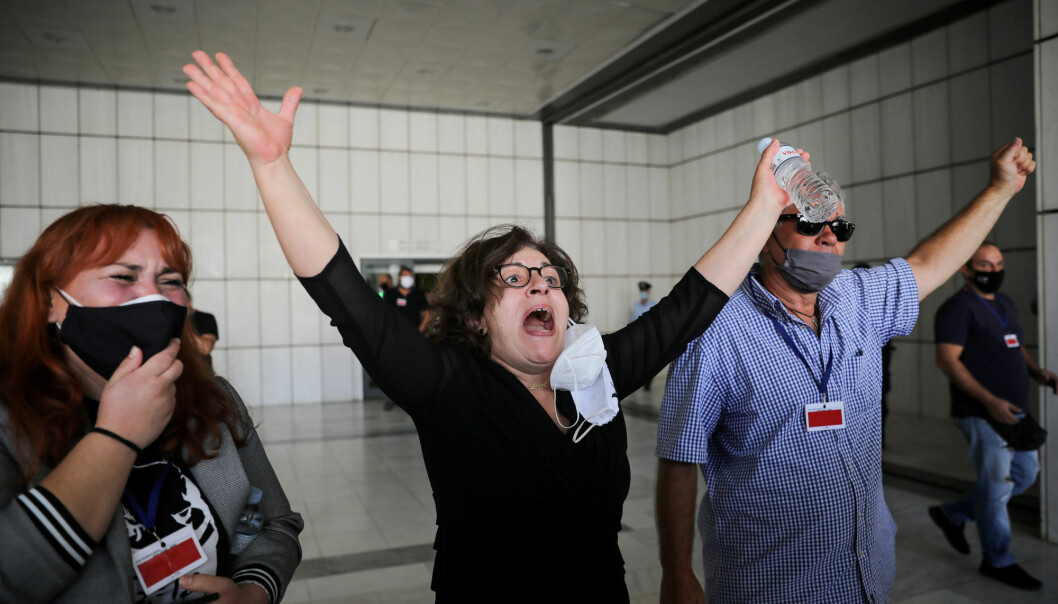 Magda Fyssa mother of anti-racist Greek rapper Pavlos Fyssas, who was killed in 2013 by Golden Dawn supporter Giorgos Roupakias, reacts after a trial of leaders and members of the far-right Golden Dawn party, in Athens, Greece, October 7, 2020.